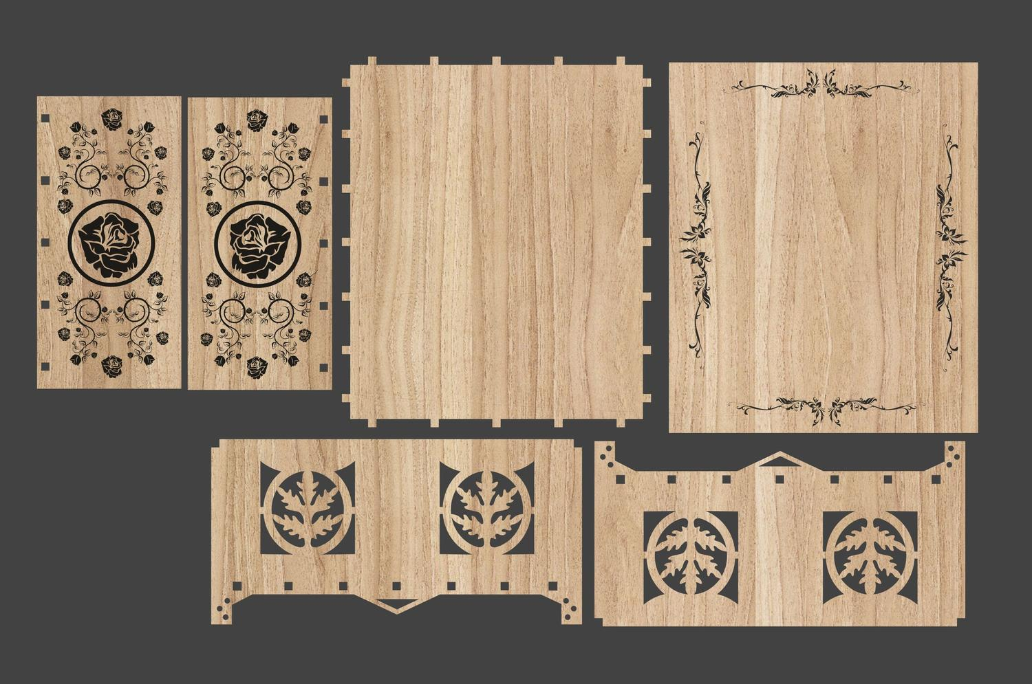 Decorative Gift Box Laser Cutting Template Free Vector