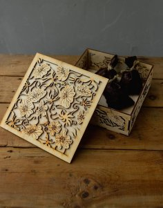 Laser Cut Wooden Decorative Gift Box Free Vector