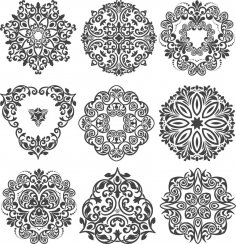 Decorative Flowers Set Free Vector