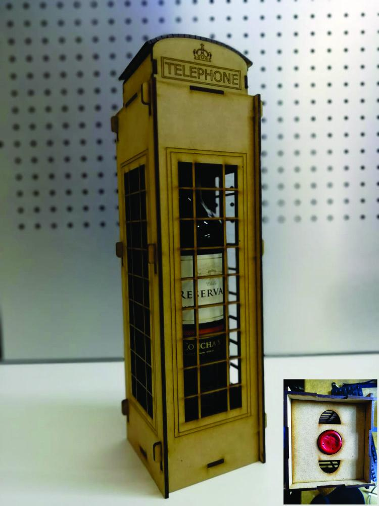 Laser Cut London Telephone Box Wine Holder Box DXF File