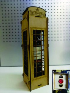 Laser Cut London Telephone Box Wine Holder Box DXF File