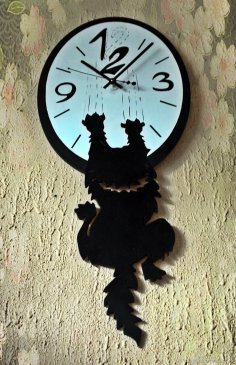 Laser Cut Insolent Cat Wall Clock Free Vector