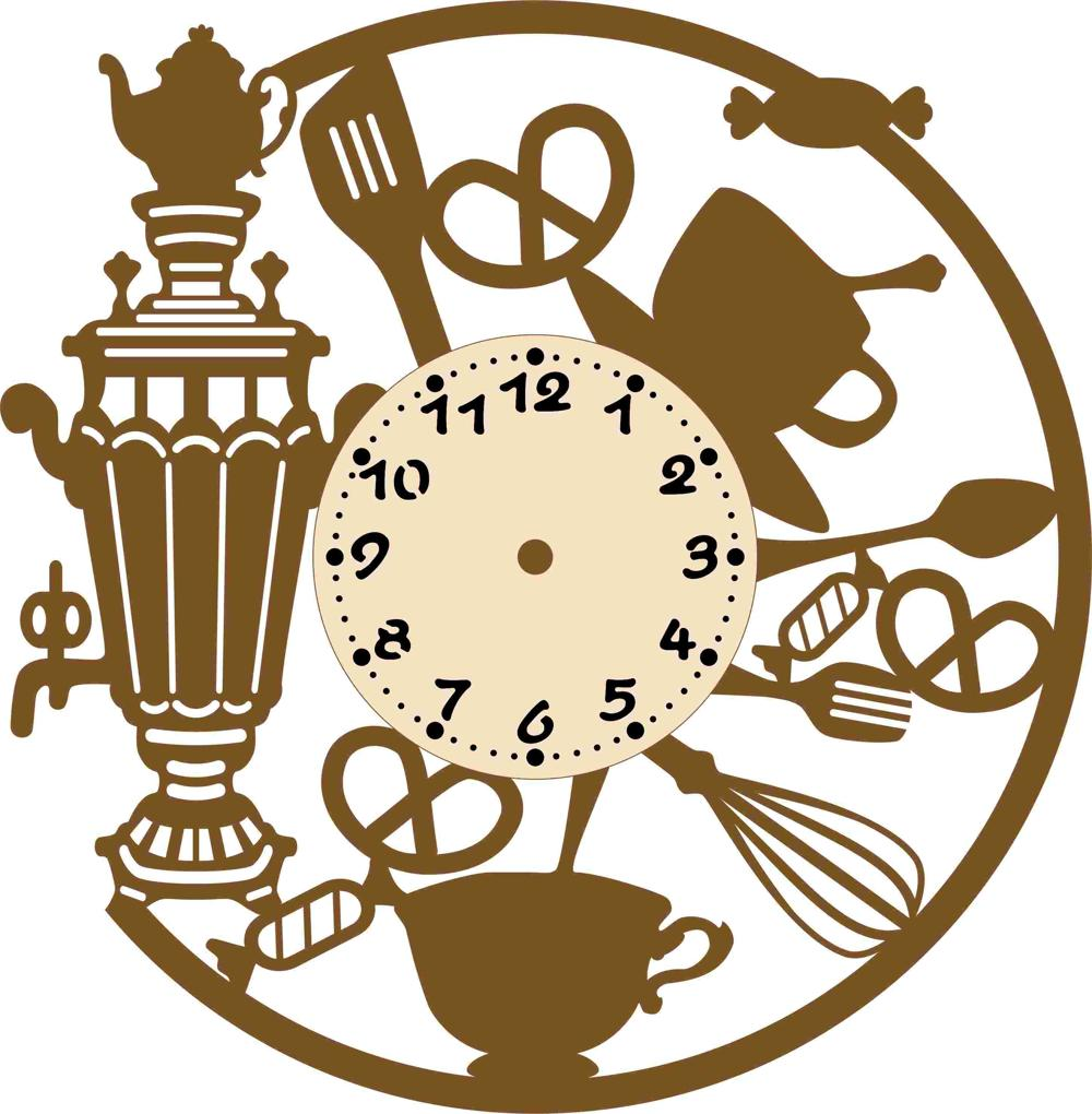 Laser Cut Samovar Shape Wall Clock Free Vector