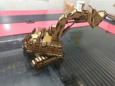 Laser Cut Hatachi Excavator 3D Model Template DXF File