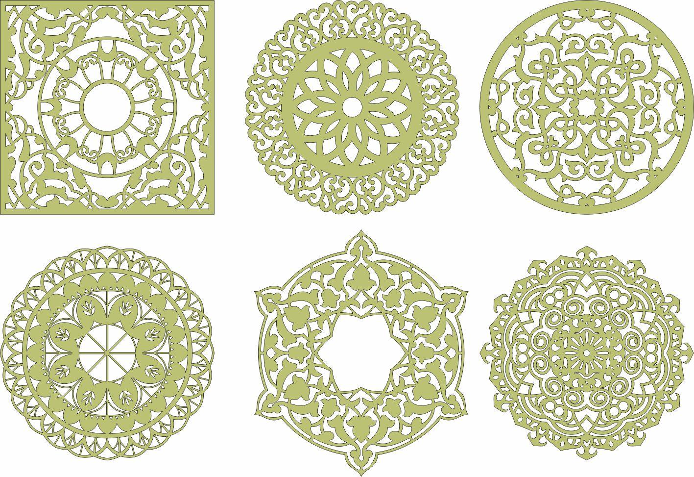 Laser Cut Mandala Decorations Free Vector