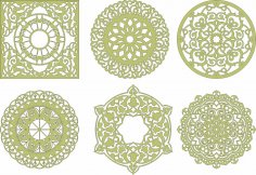 Laser Cut Mandala Decorations Free Vector
