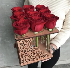 Laser Cut Rose Flower Stand Free Vector