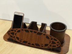 Laser Cut Desk Organizer Pen Mobile Holder Free Vector