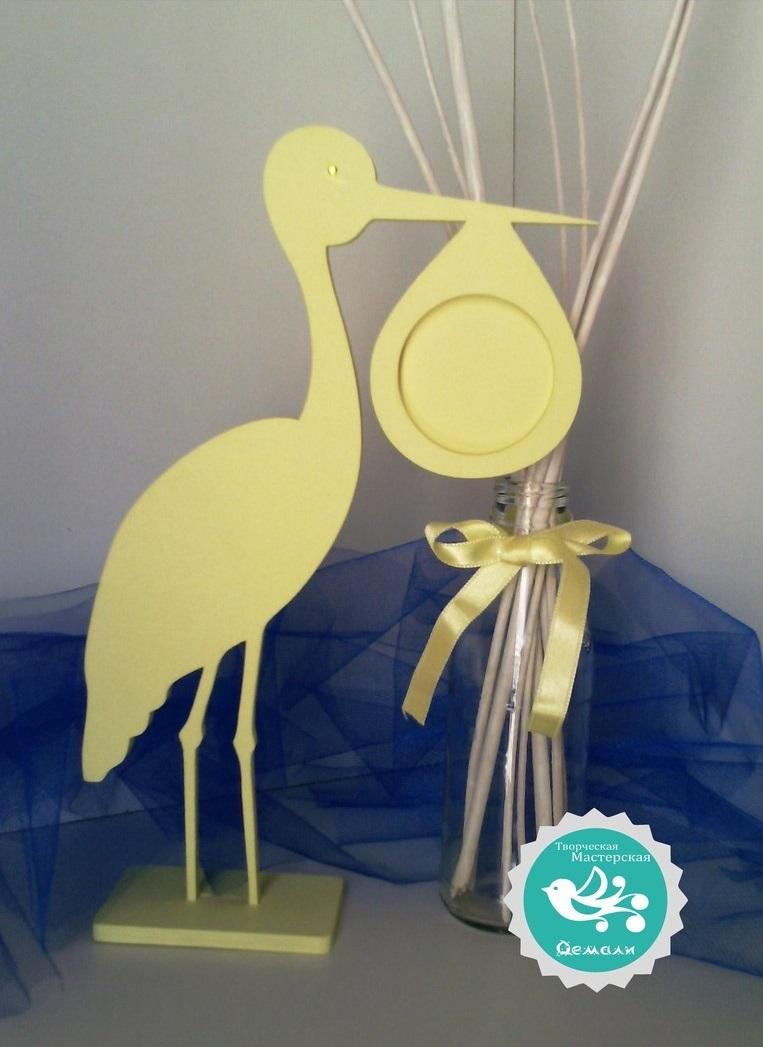 Laser Cut Stork Photo Frame Free Vector