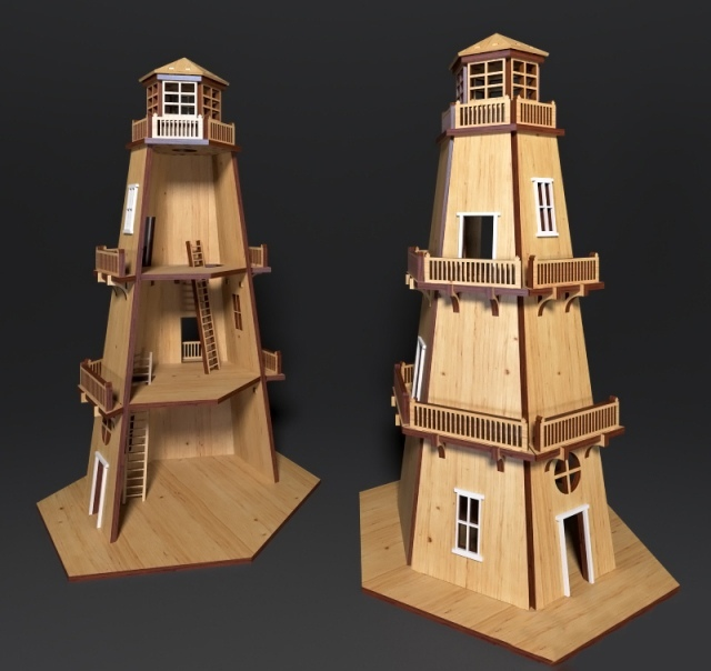 Laser Cut Lighthouse Template Free Vector