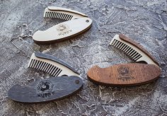 Laser Cut Folding Hair and Beard Comb Free Vector