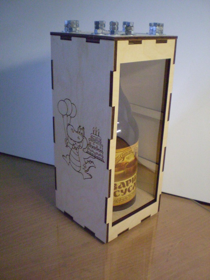 Laser Cut Bottle Box Free Vector