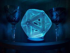 Laser Cut Icosahedron 3D Night Light Acrylic Optical Illusion Lamp Free Vector