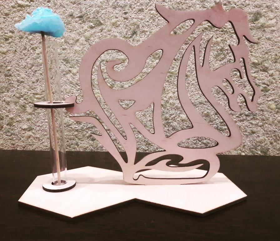 Laser Cut Wooden Horse Head Test Tube Vase Glass Planter Glass Flower Pot Free Vector