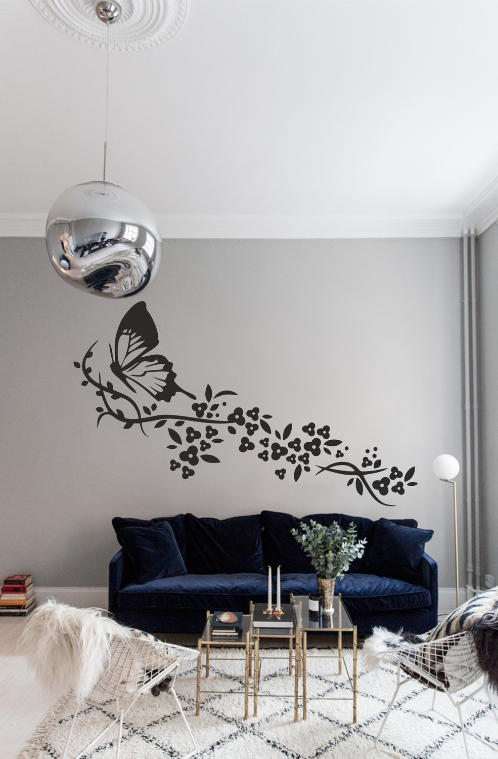 Laser Cut Wall Art Butterfly With Flowers Set Free Vector