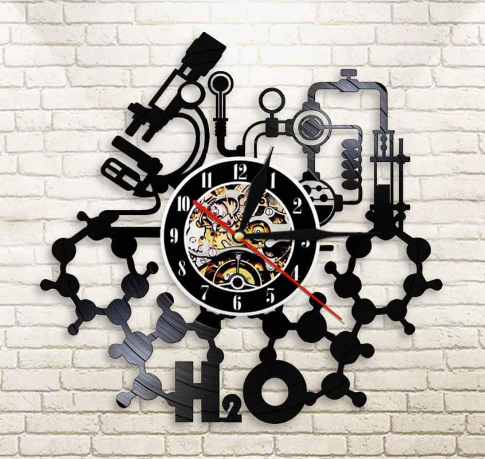 Laser Cut Chemistry Experiments Wall Clock Science Laboratory Wall Art Vinyl Record Wall Clock DXF File