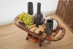 Laser Cut Wooden Wine Table And Glass Holder Free Vector