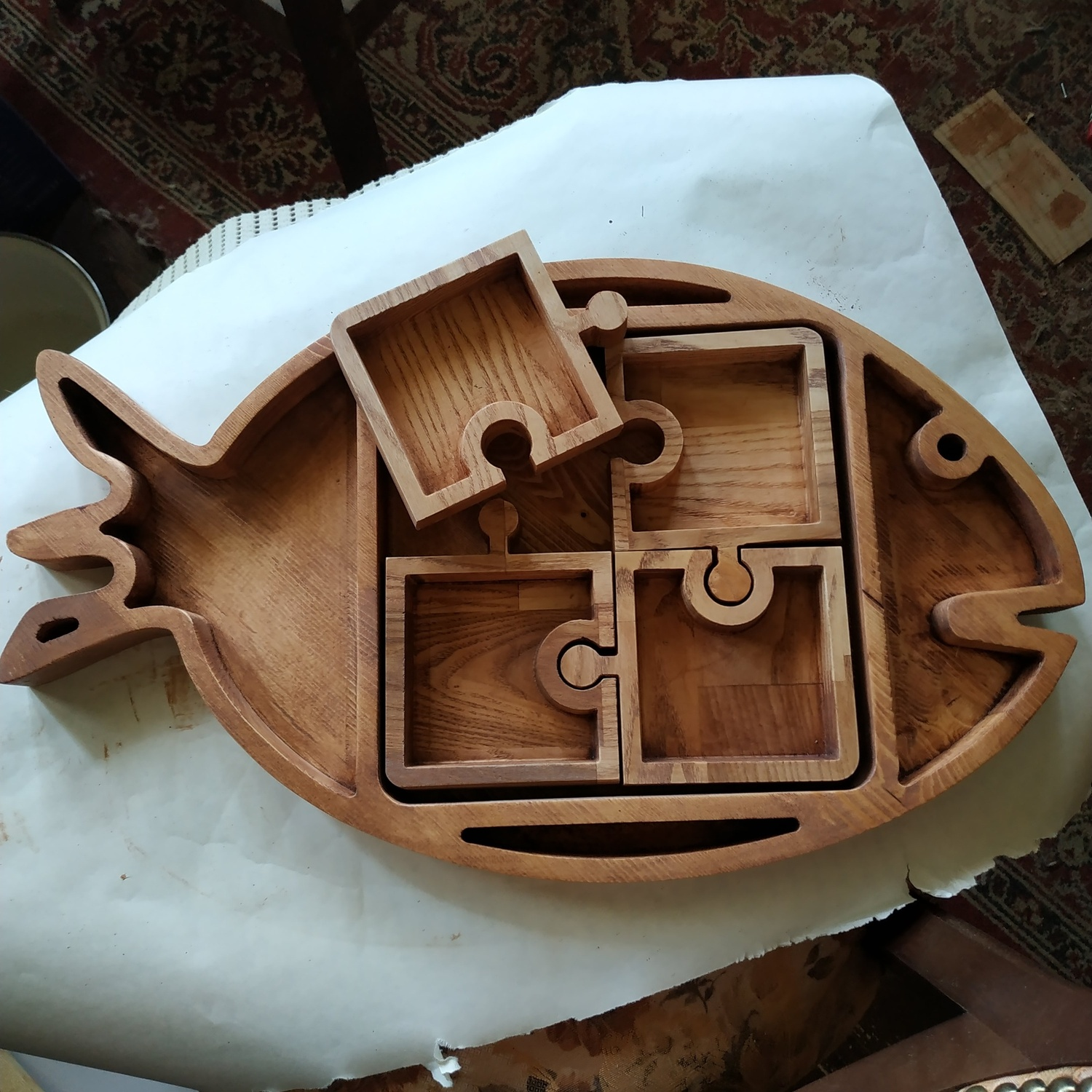 Fish Shape Serving Tray Laser Cut CNC Scroll Saw Plans DXF File