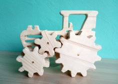 Laser Cut Tractor Wooden Toy Free Vector