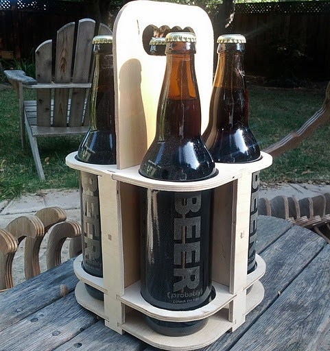 Laser Cut 4 Pack Beer Carrier Beer Caddy Bottle Holder SVG File