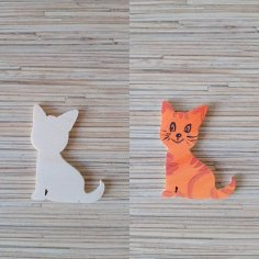 Laser Cut Super Cat Wood Magnet Free Vector