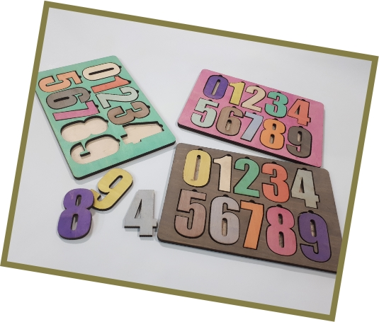 Laser Cut Wooden Peg Puzzle Toddlers Number Jigsaw Toys Educational Raised Puzzle Free Vector