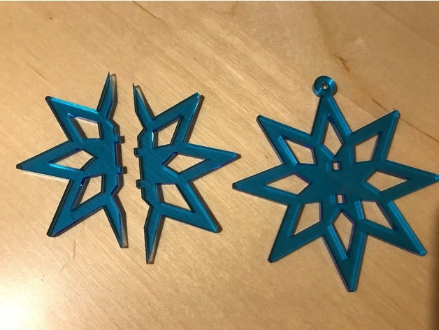 Laser Cut Two Part Snowflake Ornament Free Vector