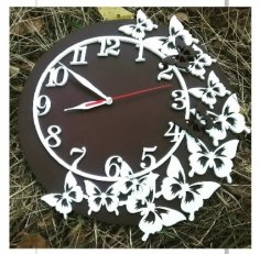 Laser Cut Butterflies Wall Clock Free Vector