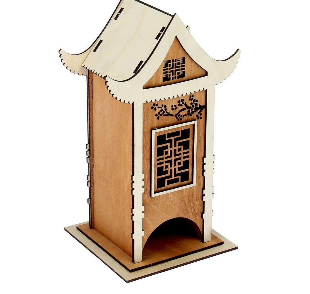 Tea House Tea Holder Box Laser Cut DXF File