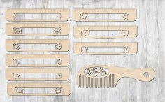 Laser Cut Wooden Decorative Ruler Set Free Vector
