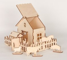 Laser Cut Wooden Game Set Farm Animals and Box Free Vector
