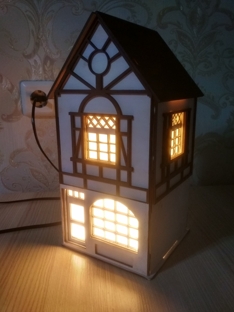 House Shaped Night Light Lamp Laser Cut CNC Plans DXF File