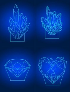Laser Cut Diamond 3D Acrylic Lamps Template Free Vector