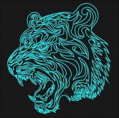 Tiger Laser Acrylic Engraving Art Free Vector