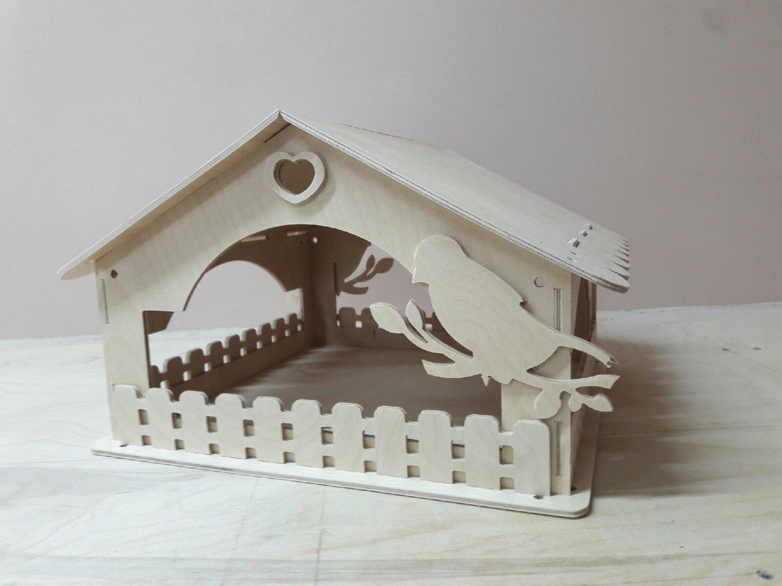 Laser Cut Wooden Bird House Bird Feeder DXF File