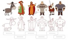 Fairy Tale Characters with Stand Laser Cut Magnets Free Vector