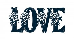 Floral Love Sign Laser Cut DXF File
