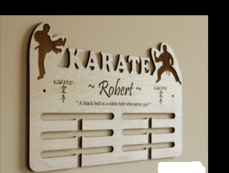 Laser Cut Martial Arts Medal Display Hanger Free Vector