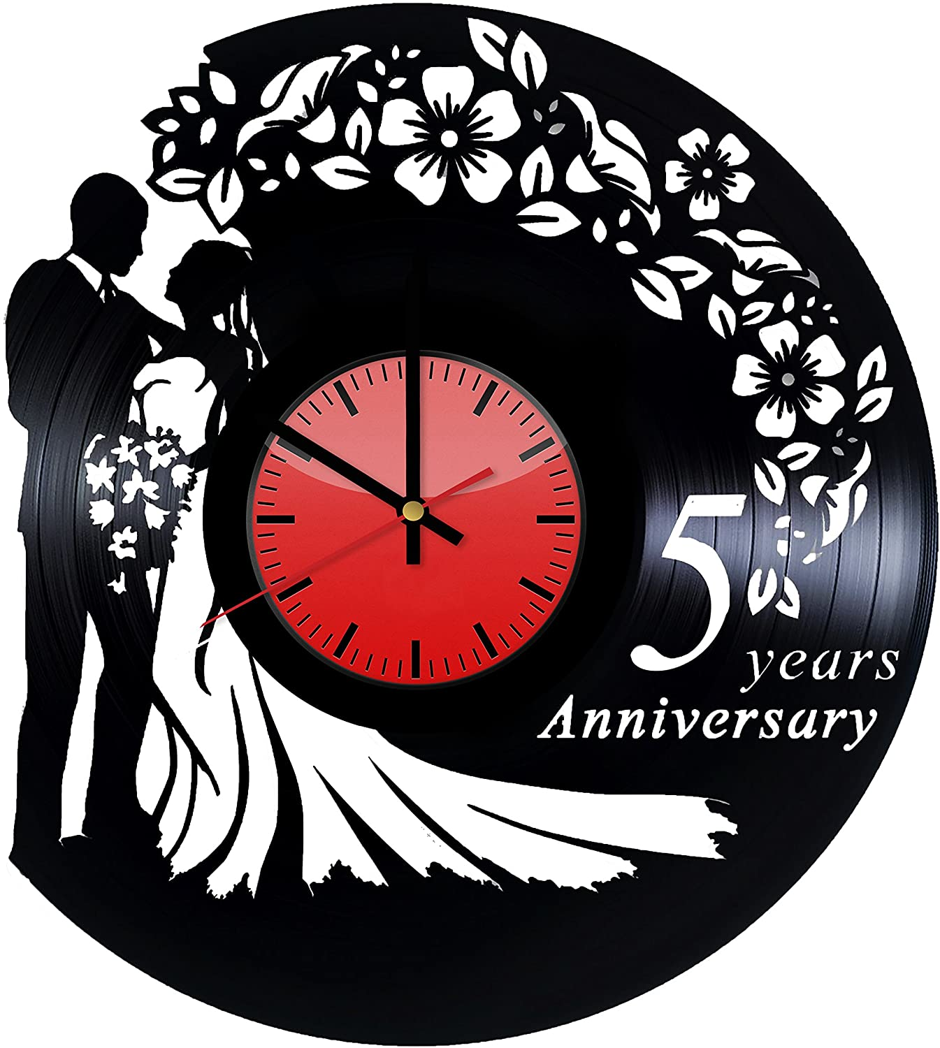 Laser Cut Wedding Vinyl Record Wall Clock DXF File