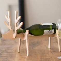 Laser Cut Reindeer Wine Holder 10mm PDF File