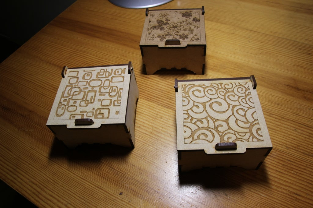 Laser Cut Engraved Jewelry Boxes DXF File