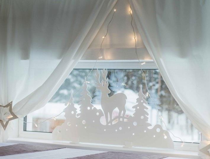 Laser Cut Christmas Window Decor Deer Window Stand Free Vector