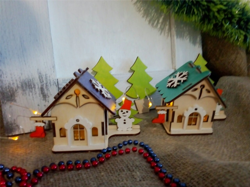 Laser Cut Wooden House Christmas Village Free Vector