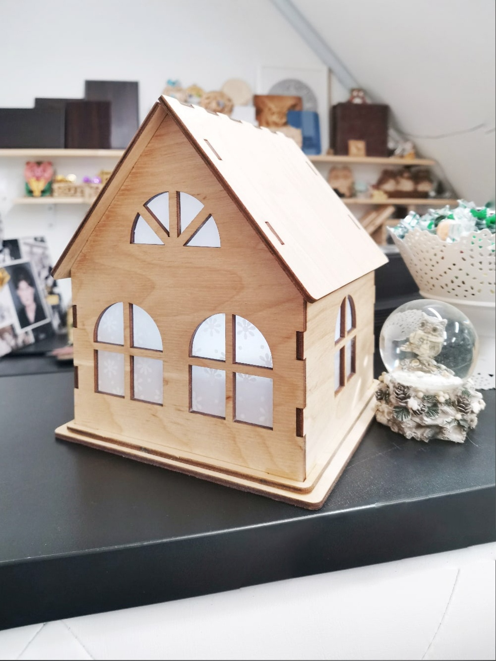 Laser Cut Small Wooden Decorative House 4mm Free Vector