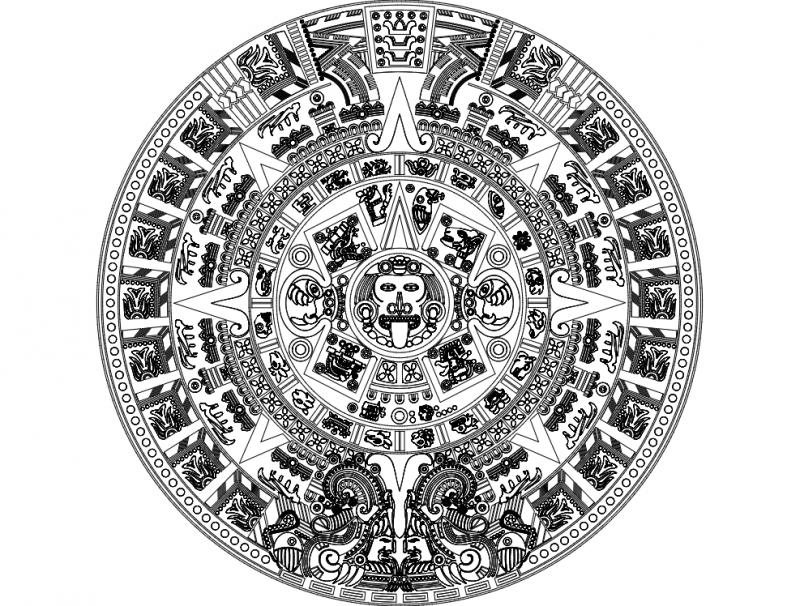 Aztec Sun Stone Vectors dxf File
