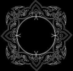 Round Mirror Frame dxf File
