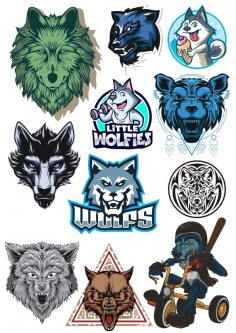 Wolf Vector Set Free Vector