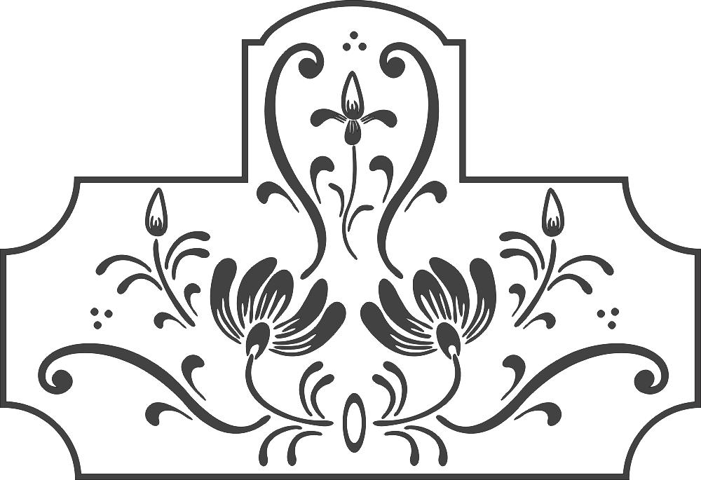 Swirl Floral Design DXF File