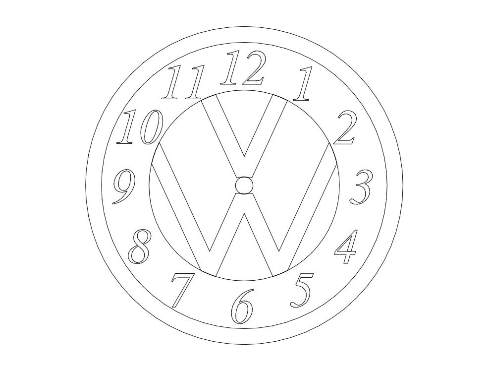 Vw Clock dxf File