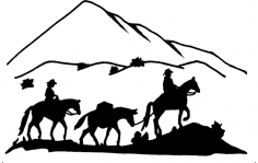 western 3 Horses 2 Riders dxf File